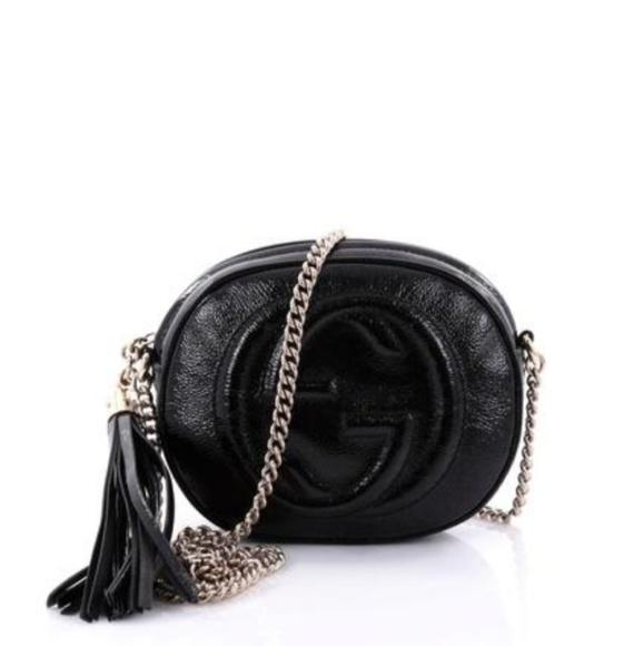 37fec7fa33f Gucci Handbags - Gucci Mini Soho Chain Crossbody in Black Patent